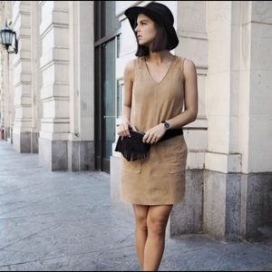 Maddy K Blue Faux Suede V Neck Jumper Dress